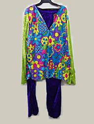 abordables -Hippie Disfraz Hombre Blusa / Falda Pantalones Verde Cosecha Cosplay Manga Larga Campana Slips