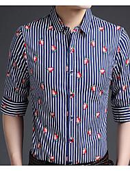 Masculino Camisa Social Casual Moda de Rua Outono,Estampado Algodão Colarinho de Camisa Manga Comprida Média