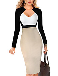 cheap -Women's Going out Street chic Bodycon Above Knee Dress, Color Block Deep V Long Sleeves Winter Fall