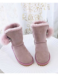 cheap -Women's Shoes Fur Winter Fall Comfort Snow Boots Boots Walking Shoes Flat Heel Round Toe Mid-Calf Boots Feather For Casual Light Pink