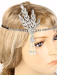 cheap -The Great Gatsby Flapper Headband 1920s Black Silver Golden Chrome Cosplay Accessories Masquerade