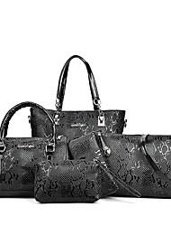 preiswerte -Damen Taschen PU Bag Set 6 Stück Geldbörse Set Reißverschluss Rüschen für Büro & Karriere Ganzjährig Weiß Schwarz Rote Braun