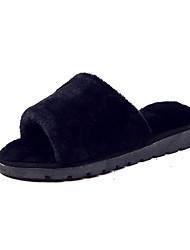 Недорогие -Для женщин Обувь Полиуретан Лето Тапочки и Шлепанцы На плоской подошве Открытый мыс Цветы для Повседневные Черный Серый