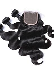 abordables -Cheveux Brésiliens Ondulation naturelle Tissages de cheveux humains Tissages de cheveux humains Noir Naturel Femme