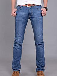 Masculino Simples Cintura Média Micro-Elástica Jeans Calças,Sólido Inverno Outono