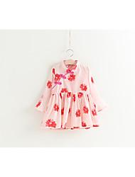 abordables -Robe Fille de Vacances Fleur Coton Polyester Printemps Manches 3/4 Chinoiserie Rose Claire
