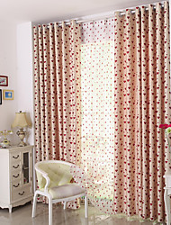 cheap -Rod Pocket Grommet Top Tab Top Double Pleat Pencil Pleat Curtain Kids and Teen , Jacquard Floral Bedroom Polyester Blend Material