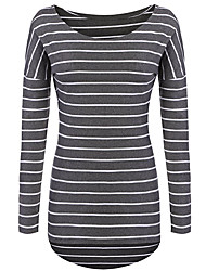 cheap -Women's Casual/Daily Punk & Gothic Spring Fall T-shirt,Striped Round Neck Long Sleeve Polyester Spandex Medium