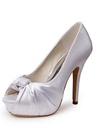 preiswerte -Damen Schuhe Seide Frühling Sommer Pumps Hochzeit Schuhe Stöckelabsatz Peep Toe Satin Blume für Hochzeit Party & Festivität Weiß