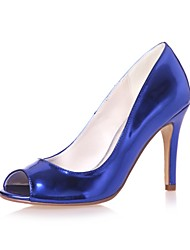 cheap -Women's Shoes Patent Leather Spring Summer Basic Pump Wedding Shoes Stiletto Heel Peep Toe for Wedding Party & Evening Gold Silver Blue
