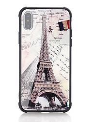 Недорогие -Кейс для Назначение Apple iPhone X / iPhone 8 Защита от удара / С узором Кейс на заднюю панель Слова / выражения / Флаг / Эйфелева башня Твердый Закаленное стекло для iPhone X / iPhone 8 Pluss