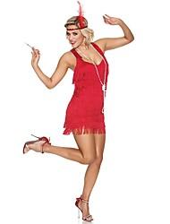 economico -Grande Gatsby Stile anni '20 Costume Per donna Vestito del flapper Vestito da Serata Elegante Abito da cocktail Black + Sliver Rosso +