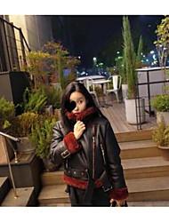 preiswerte -Damen Solide Retro Alltag Jacke,Rundhalsausschnitt Winter Kurze Ärmel Standard Baumwolle Acryl Gefaltet