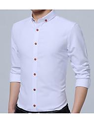 Недорогие -Для мужчин Повседневные Все сезоны Рубашка Рубашечный воротник,На каждый день Однотонный Длинные рукава,Полиэстер,Плотная