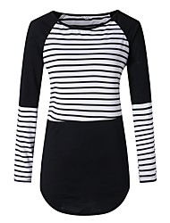cheap -Women's Puff Sleeve Polyester Spandex T-shirt - Striped Color Block, Cut Out