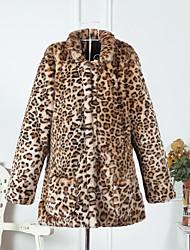 baratos -Mulheres Padrão Casaco de Pêlo Diário Vintage Sensual Inverno Outono, Leopardo Pêlo Sintético Colarinho de Camisa