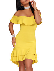 cheap -Women's Going out Club Sexy Street chic Sheath DressSolid Strapless Above Knee Short Sleeve Polyester Spring Summer Mid Rise