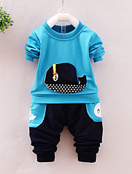cheap -Boys' Daily Going out Cartoon Clothing Set,Cotton Acrylic All Seasons Long Sleeve Casual Street chic Punk & Gothic Blue Green Gray Yellow