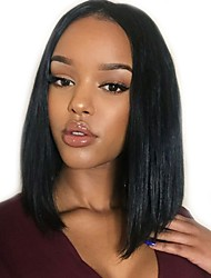 cheap -Human Hair Glueless Lace Front / Lace Front Wig Brazilian Hair Straight Wig Bob Haircut / With Baby Hair 130% Natural Hairline / Middle Part / 100% Virgin Women's Short / Medium Length Human Hair