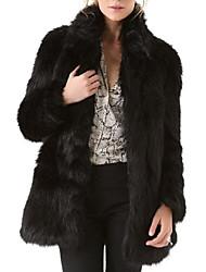 Недорогие -Для женщин На выход На каждый день Зима Осень Пальто с мехом Воротник-стойка,Уличный стиль Однотонный Длинная Длинные рукава,