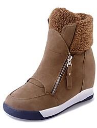 baratos -Mulheres Sapatos Courino Outono Inverno Botas da Moda Botas Plataforma Ponta Redonda Botas Curtas / Ankle para Festas & Noite Preto Marron