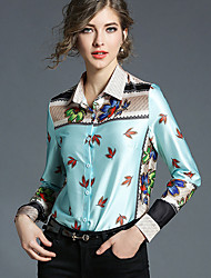 cheap -Women's Going out Vintage Casual Spring Fall Shirt,Print Shirt Collar Long Sleeve Polyester Medium