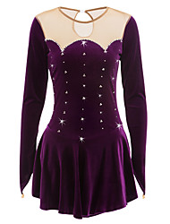 cheap -Figure Skating Dress Women's Girls' Ice Skating Dress Purple Velvet Rhinestone Performance Skating Wear Handmade Classic Long Sleeves Ice