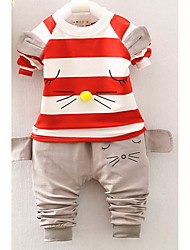cheap -Boys' Daily Going out Striped Cartoon Clothing Set,Cotton Acrylic All Seasons Long Sleeve Cute Casual Active Black Red