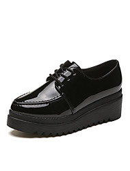 cheap -Women's Shoes PU Fall Comfort Oxfords Round Toe Lace-up For Casual Black