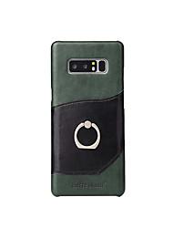Недорогие -Кейс для Назначение SSamsung Galaxy Note 8 Бумажник для карт Кольца-держатели Кейс на заднюю панель Сплошной цвет Твердый Настоящая кожа