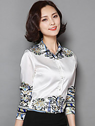cheap -Women's Daily Sophisticated All Seasons Shirt,Print Shirt Collar Long Sleeve Polyester