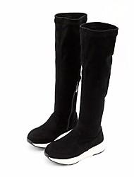Dívčí Obuv Semiš Zima Módní obuv Boty Nad kolena pro Ležérní Černá Červená