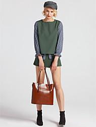 abordables -Mujer Sencillo Adorable Chic de Calle Noche Casual/Diario Trabajo Con Muelle Verano T-Shirt Falda Trajes,Escote Redondo Un Color A Rayas