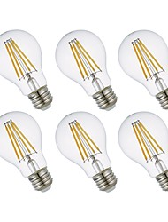 abordables -GMY® 6pcs 8.5W 800lm E26 Ampoules à Filament LED A19 4 Perles LED COB Intensité Réglable Lampe LED Blanc Chaud 110-130V