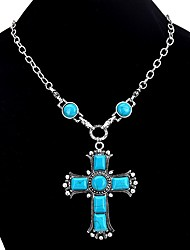 cheap -Women's Turquoise Pendant Necklace  -  Turquoise Cross Vintage, Bohemian Turquoise Necklace For Gift, Evening Party