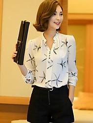 economico -Camicia Per donna Ufficio Moda città Con stampe A V
