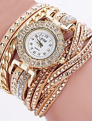 abordables -Femme Quartz Montre Bracelet Chinois Chronographe Montre Décontractée Cuir Bande Décontracté Montre à diamant simulé Elégant Mode Noël