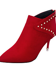 Women's Shoes PU Spring Summer Fall Comfort Slouch Boots Heels Walking Shoes Stiletto Heel Pointed Toe Rhinestone Buckle for Casual