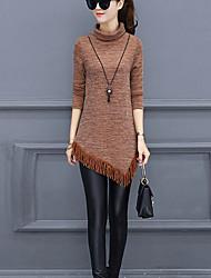 preiswerte -Damen Arbeit Boho Langarm Pullover-Solide Rollkragen