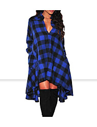 cheap -Women's Casual/Daily Simple Loose Dress,Print Shirt Collar Knee-length Long Sleeve Polyester Winter Fall Mid Rise Micro-elastic Opaque