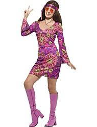 economico -Vintage Hippie Anni '70 Costume Per donna Vestito da Serata Elegante attrezzatura Viola Vintage Cosplay Manica lunga Svasata Corto / mini