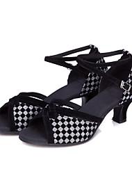cheap -Women's Latin Shoes Flocking / Sparkling Glitter / Paillette Sandal / Heel / Sneaker Splicing / Color Block / Paillette Cuban Heel