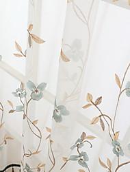 preiswerte -Ösen Zweifach gefaltet plissiert Window Treatment Modern, Druck & Jacquard Blumen Wohnzimmer Polyester Mischung Stoff Gardinen Shades