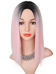 cheap -Synthetic Wig kinky Straight Bob Haircut Synthetic Hair Ombre Hair Pink Wig Women's Short Capless
