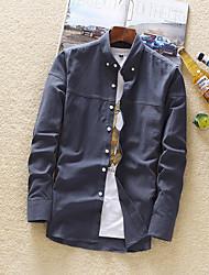 Masculino Camisa Social Diário Casual Sólido Algodão Colarinho de Camisa Manga Comprida