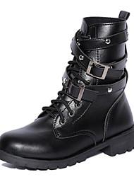 Feminino Sapatos Couro Ecológico Primavera Outono Conforto Coturnos Botas Salto Robusto Botas Curtas / Ankle para Casual Preto