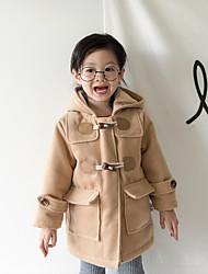 Девочки Куртка / пальто Шёлк Однотонный Длинный рукав Очаровательный Черный Красный Верблюжий