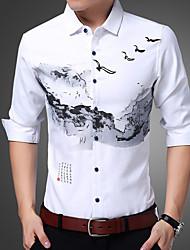 Masculino Camisa Social Casual Temática Asiática Estampado Algodão Colarinho de Camisa Manga Comprida