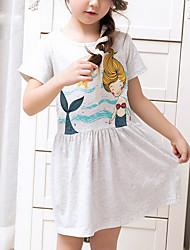 cheap -Girl's Holiday Dress, Cotton Summer Short Sleeves Cartoon Gray