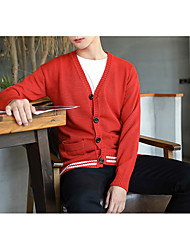 cheap -Men's Going out Simple Regular Cardigan,Print V Neck Long Sleeves Polyester Winter Fall Opaque Micro-elastic
